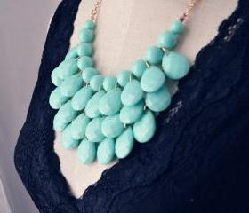 Teardrop Statement Bib Necklace Minty Aqua,Bubble necklace
