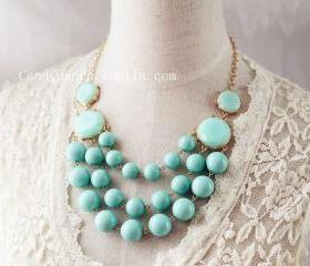 Multi Strand Bubble Necklace J. Crew Style Inspired Mint